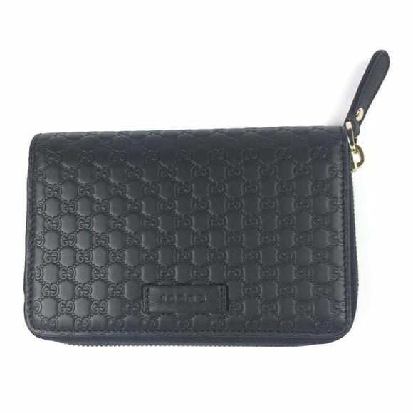 Gucci Handbags - Gucci Black Gg Micro Guccissima Leather Zip Around